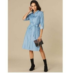 Long Sleeve Button Down Belted Midi Shirt Dress